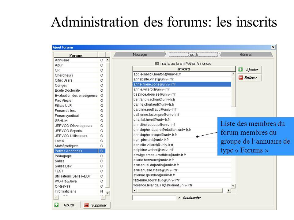 Administration des forums: les inscrits Liste des membres du forum membres du groupe de lannuaire de type « Forums »