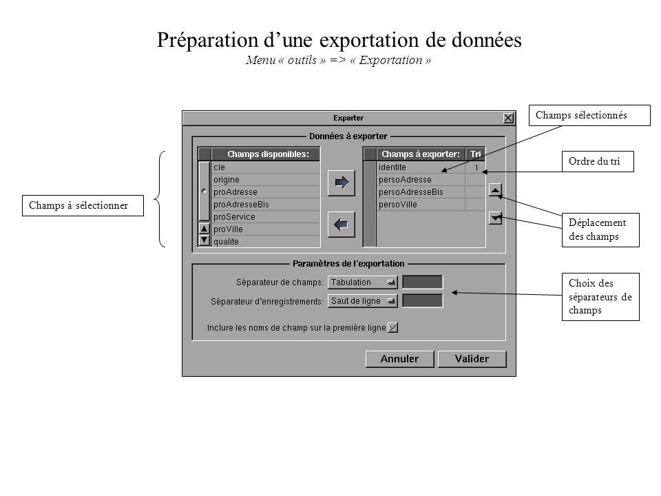 Préparation dune exportation de données Menu « outils » => « Exportation » Champs sélectionnés Ordre du tri Déplacement des champs Champs à sélectionner Choix des séparateurs de champs