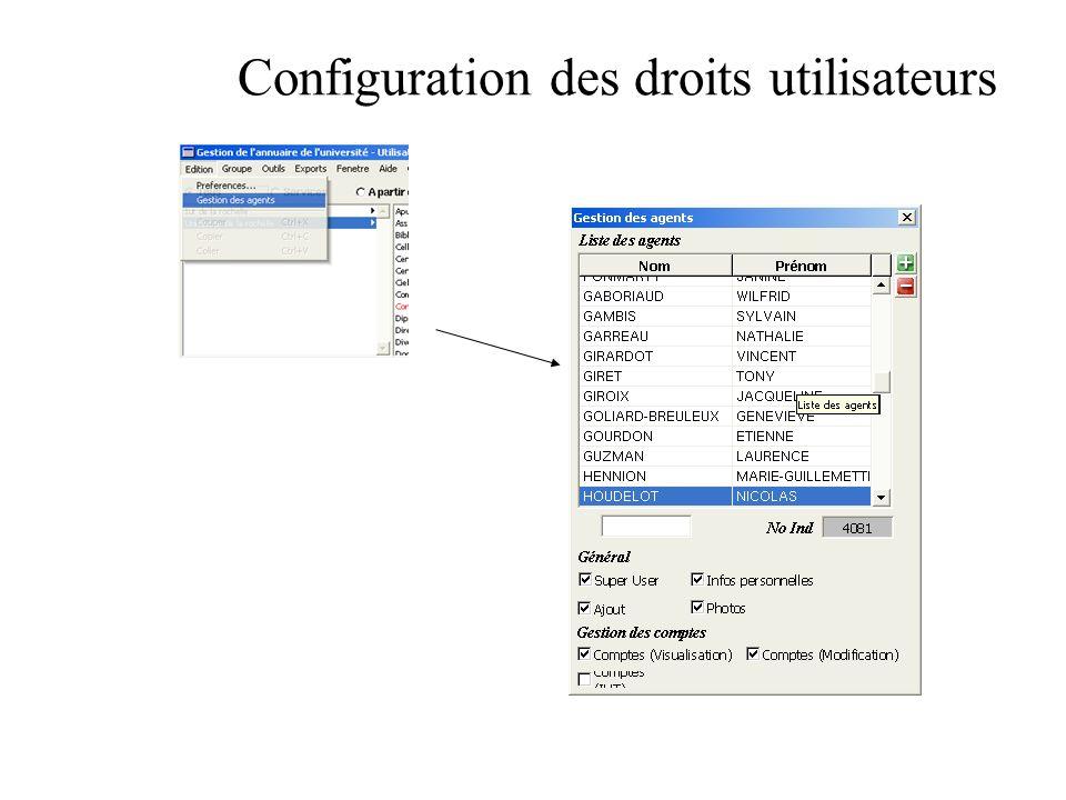 Configuration des droits utilisateurs