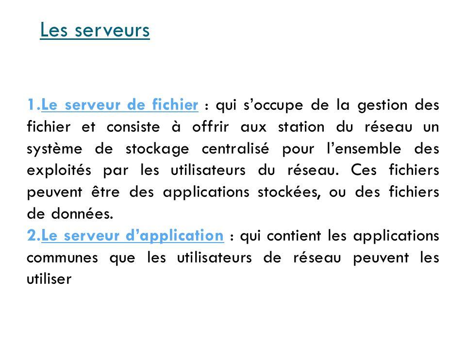 3.Le serveur dimpression : permet de partager une ou plusieurs imprimantes.