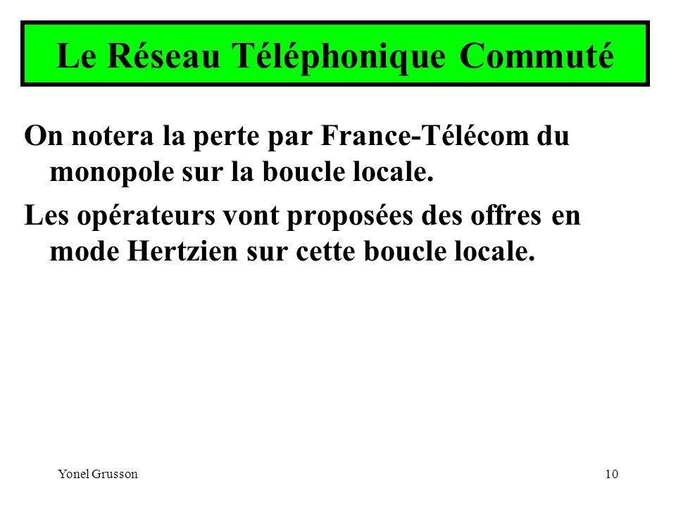 Yonel Grusson10 Le Réseau Téléphonique Commuté On notera la perte par France-Télécom du monopole sur la boucle locale. Les opérateurs vont proposées d