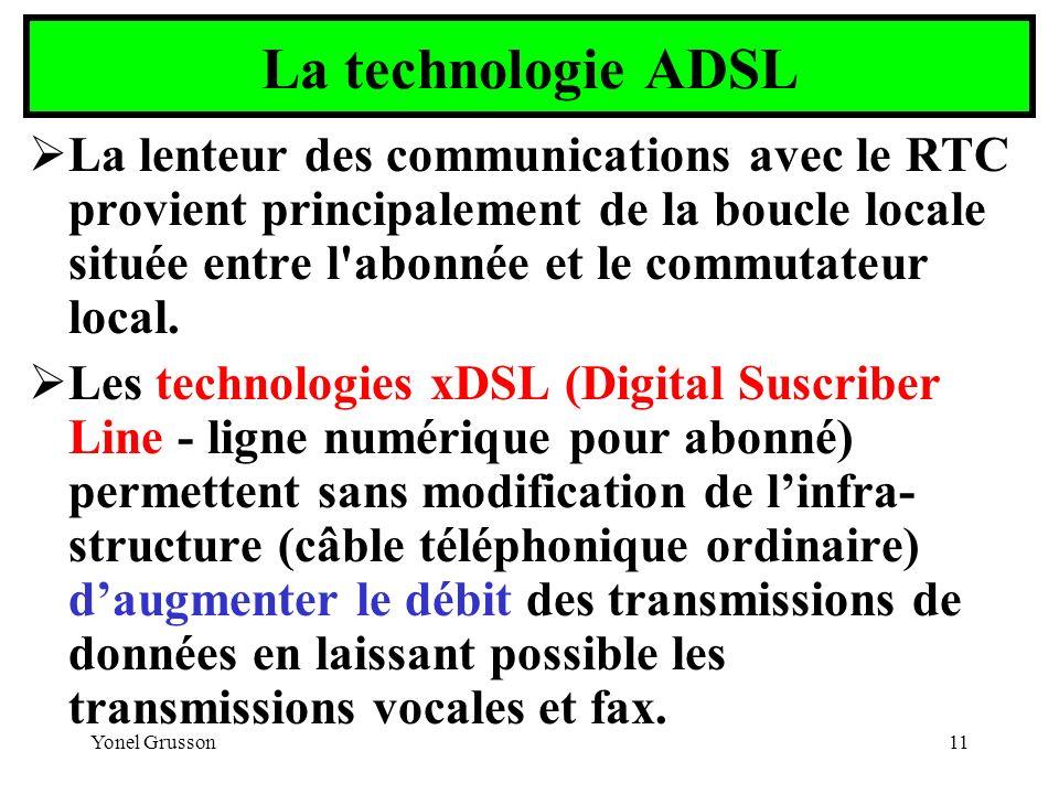 Yonel Grusson11 La technologie ADSL La lenteur des communications avec le RTC provient principalement de la boucle locale située entre l'abonnée et le