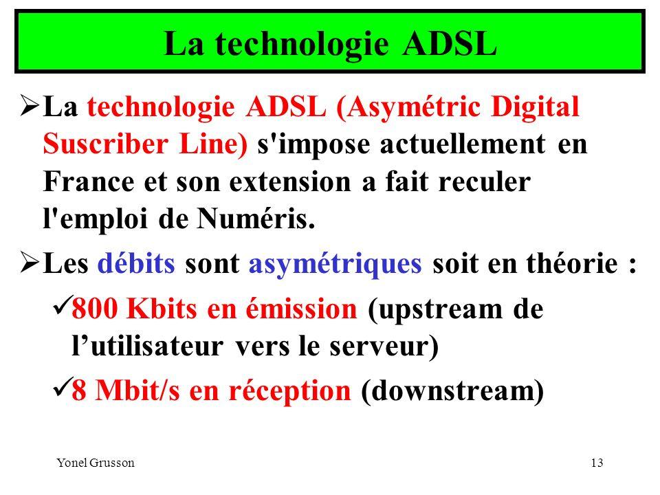Yonel Grusson13 La technologie ADSL La technologie ADSL (Asymétric Digital Suscriber Line) s'impose actuellement en France et son extension a fait rec