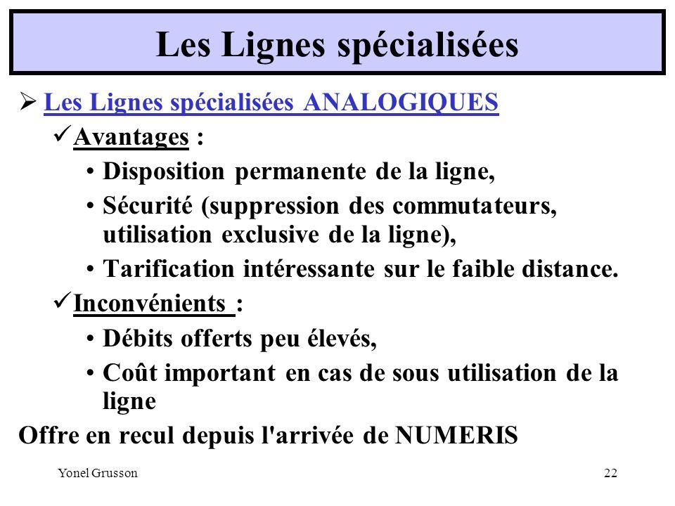 Yonel Grusson22 Les Lignes spécialisées ANALOGIQUES Avantages : Disposition permanente de la ligne, Sécurité (suppression des commutateurs, utilisatio
