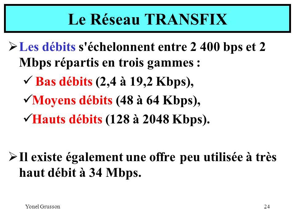 Yonel Grusson24 Les débits s'échelonnent entre 2 400 bps et 2 Mbps répartis en trois gammes : Bas débits (2,4 à 19,2 Kbps), Moyens débits (48 à 64 Kbp