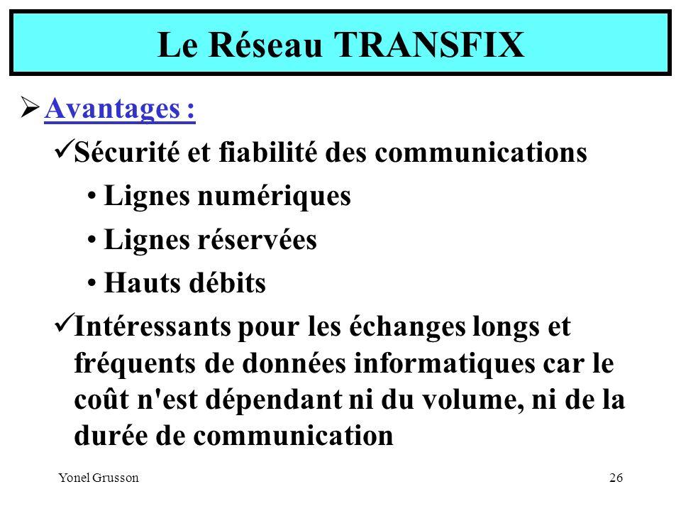 Yonel Grusson26 Avantages : Sécurité et fiabilité des communications Lignes numériques Lignes réservées Hauts débits Intéressants pour les échanges lo