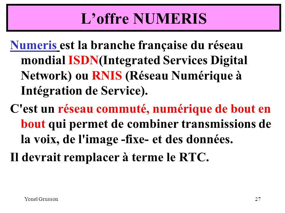 Yonel Grusson27 Numeris est la branche française du réseau mondial ISDN(Integrated Services Digital Network) ou RNIS (Réseau Numérique à Intégration d