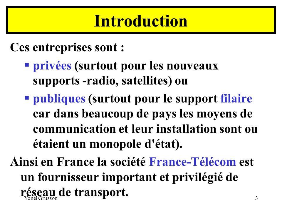 Yonel Grusson4 Ces entreprises offrent : Des supports (câble, radio, satellite, etc.…), Des services, Des garanties (sécurité, vitesse et volume de transmission, etc...).