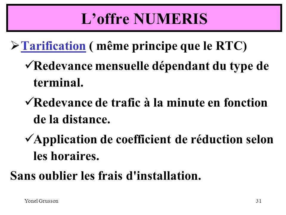 Yonel Grusson31 Tarification ( même principe que le RTC) Redevance mensuelle dépendant du type de terminal. Redevance de trafic à la minute en fonctio
