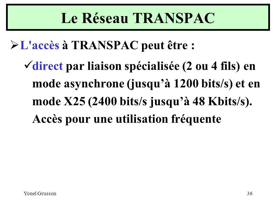 Yonel Grusson36 L'accès à TRANSPAC peut être : direct par liaison spécialisée (2 ou 4 fils) en mode asynchrone (jusquà 1200 bits/s) et en mode X25 (24