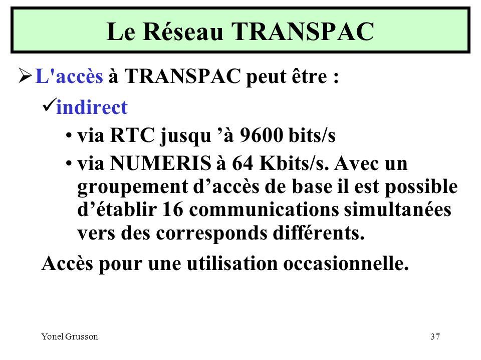 Yonel Grusson37 L'accès à TRANSPAC peut être : indirect via RTC jusqu à 9600 bits/s via NUMERIS à 64 Kbits/s. Avec un groupement daccès de base il est