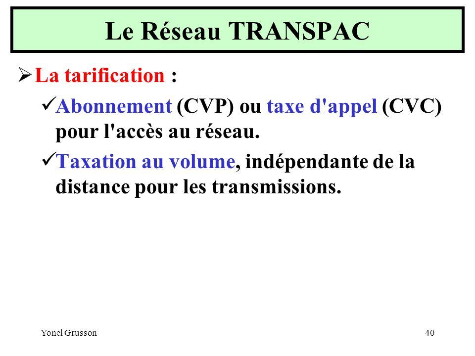 Yonel Grusson40 La tarification : Abonnement (CVP) ou taxe d'appel (CVC) pour l'accès au réseau. Taxation au volume, indépendante de la distance pour