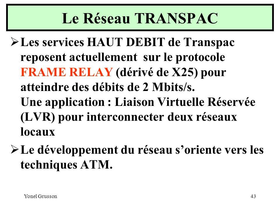 Yonel Grusson43 Les services HAUT DEBIT de Transpac reposent actuellement sur le protocole FRAME RELAY (dérivé de X25) pour atteindre des débits de 2