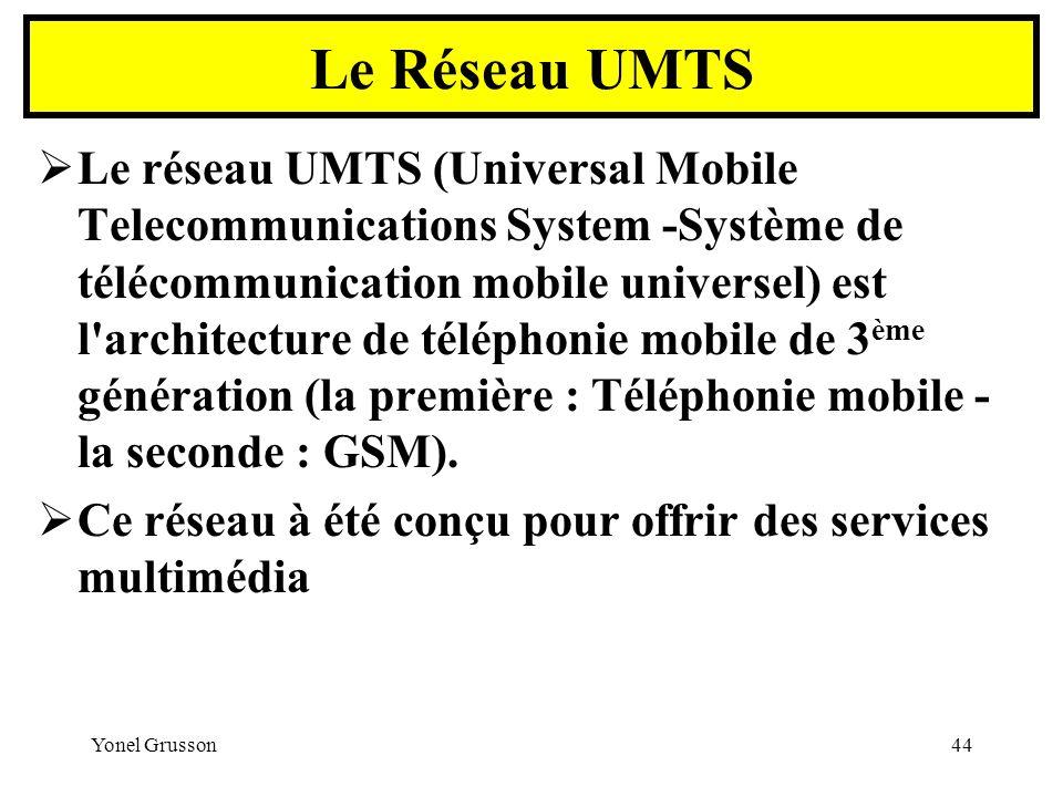 Yonel Grusson44 Le réseau UMTS (Universal Mobile Telecommunications System -Système de télécommunication mobile universel) est l'architecture de télép
