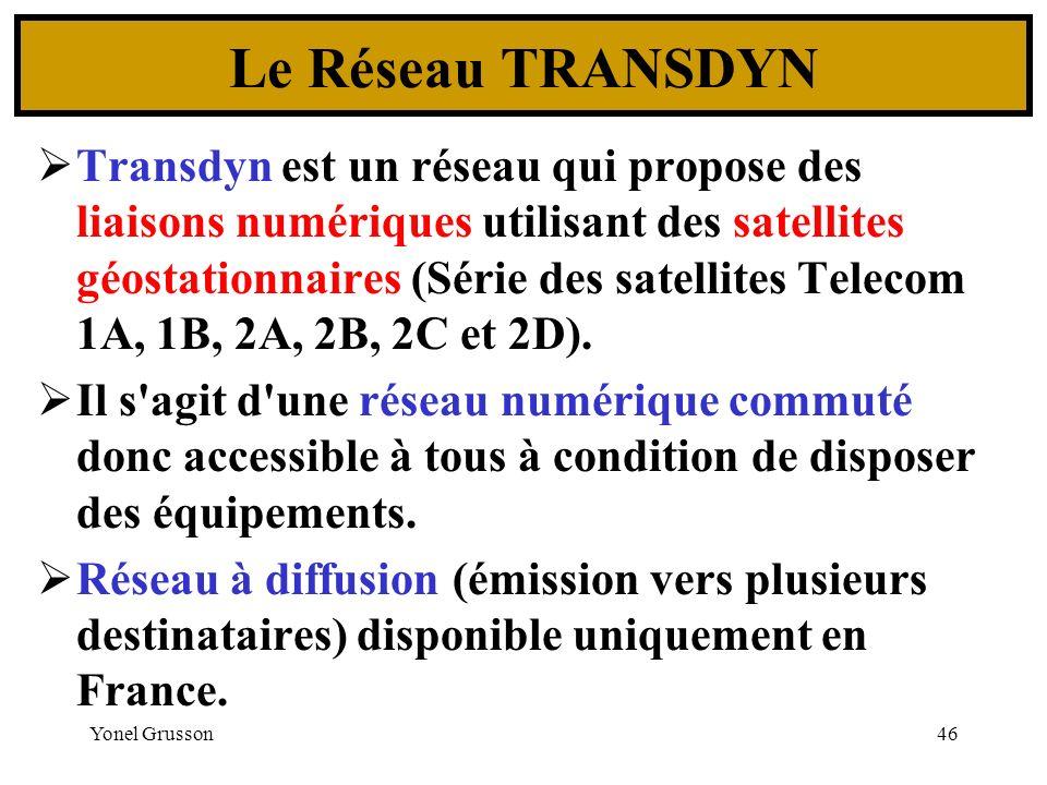 Yonel Grusson46 Le Réseau TRANSDYN Transdyn est un réseau qui propose des liaisons numériques utilisant des satellites géostationnaires (Série des sat