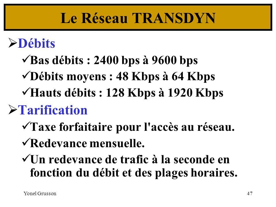 Yonel Grusson47 Débits Bas débits : 2400 bps à 9600 bps Débits moyens : 48 Kbps à 64 Kbps Hauts débits : 128 Kbps à 1920 Kbps Tarification Taxe forfai
