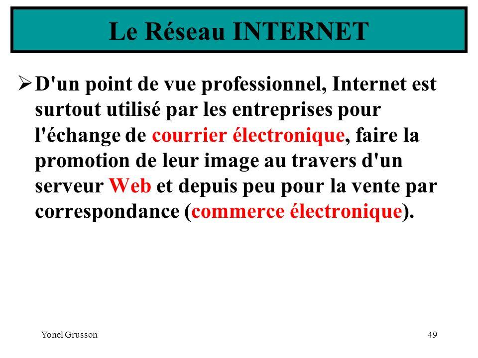 Yonel Grusson49 D'un point de vue professionnel, Internet est surtout utilisé par les entreprises pour l'échange de courrier électronique, faire la pr
