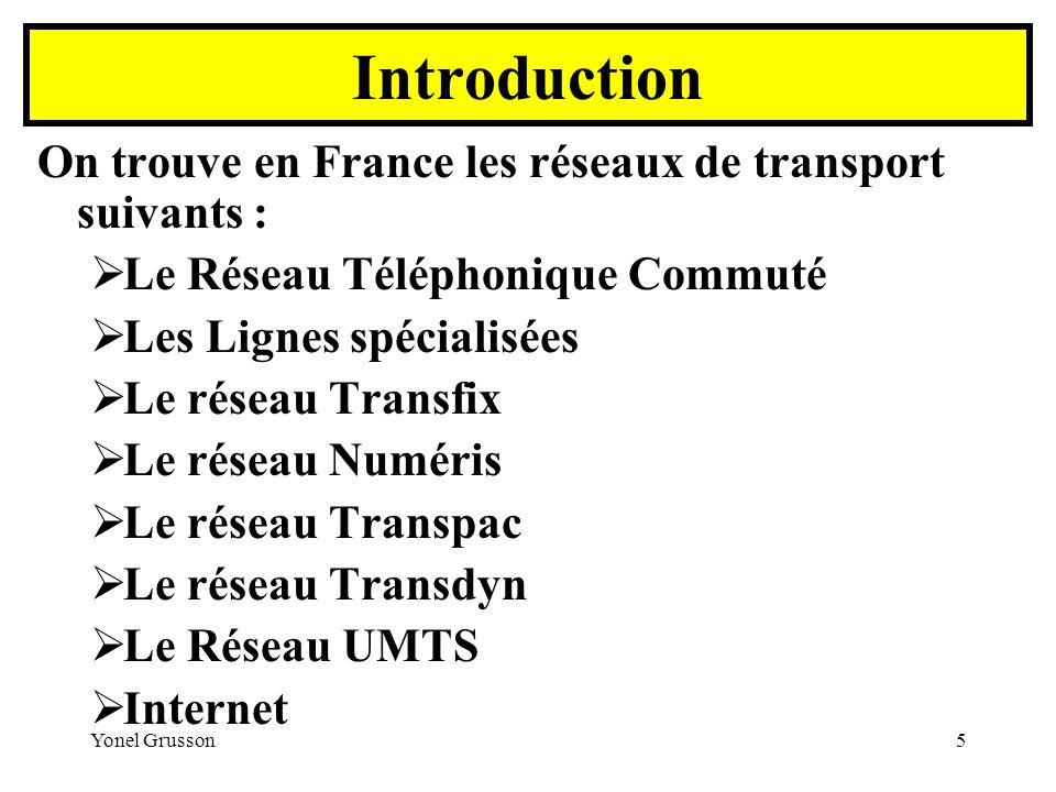 Yonel Grusson5 On trouve en France les réseaux de transport suivants : Le Réseau Téléphonique Commuté Les Lignes spécialisées Le réseau Transfix Le ré