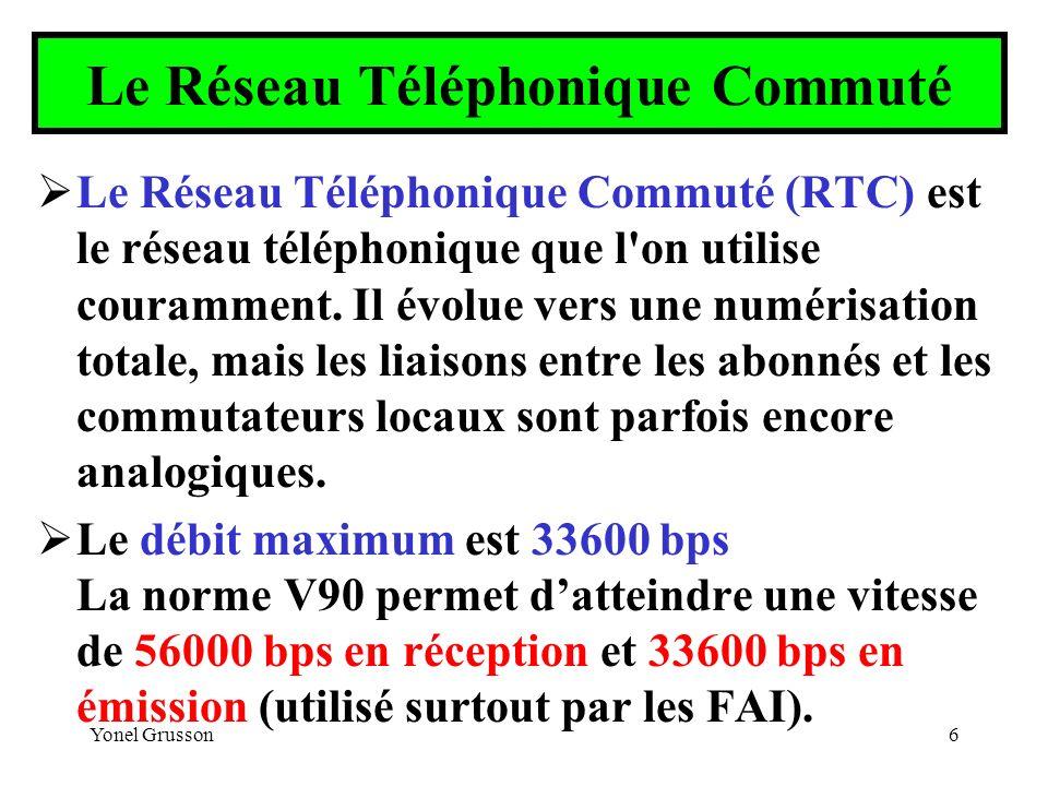 Yonel Grusson6 Le Réseau Téléphonique Commuté Le Réseau Téléphonique Commuté (RTC) est le réseau téléphonique que l'on utilise couramment. Il évolue v