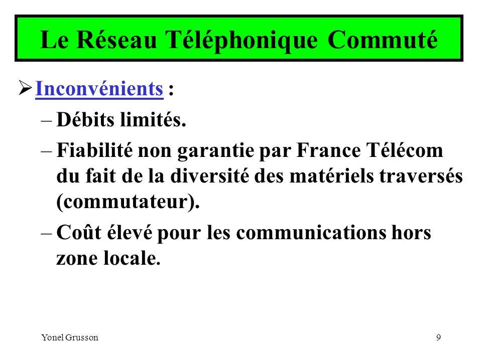 Yonel Grusson9 Le Réseau Téléphonique Commuté Inconvénients : –Débits limités. –Fiabilité non garantie par France Télécom du fait de la diversité des