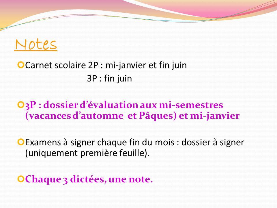 Notes Carnet scolaire 2P : mi-janvier et fin juin 3P : fin juin 3P : dossier dévaluation aux mi-semestres (vacances dautomne et Pâques) et mi-janvier