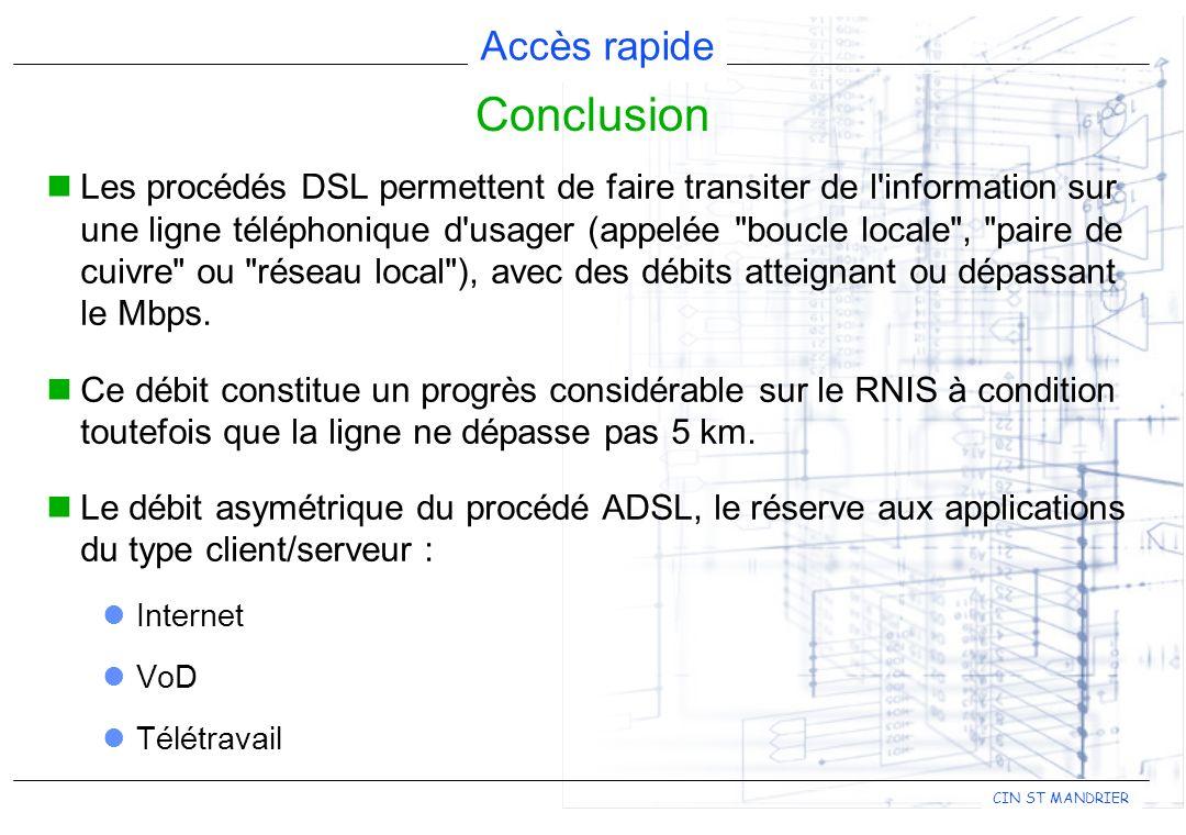 Accès rapide CIN ST MANDRIER Les procédés DSL permettent de faire transiter de l information sur une ligne téléphonique d usager (appelée boucle locale , paire de cuivre ou réseau local ), avec des débits atteignant ou dépassant le Mbps.