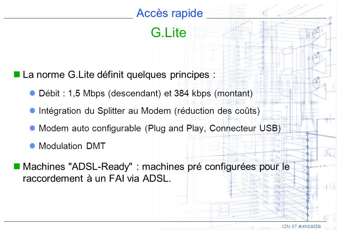 Accès rapide CIN ST MANDRIER La norme G.Lite définit quelques principes : Débit : 1,5 Mbps (descendant) et 384 kbps (montant) Intégration du Splitter au Modem (réduction des coûts) Modem auto configurable (Plug and Play, Connecteur USB) Modulation DMT Machines ADSL-Ready : machines pré configurées pour le raccordement à un FAI via ADSL.