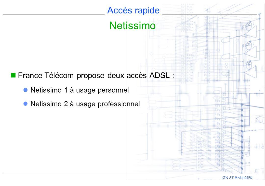 Accès rapide CIN ST MANDRIER France Télécom propose deux accès ADSL : Netissimo 1 à usage personnel Netissimo 2 à usage professionnel Netissimo