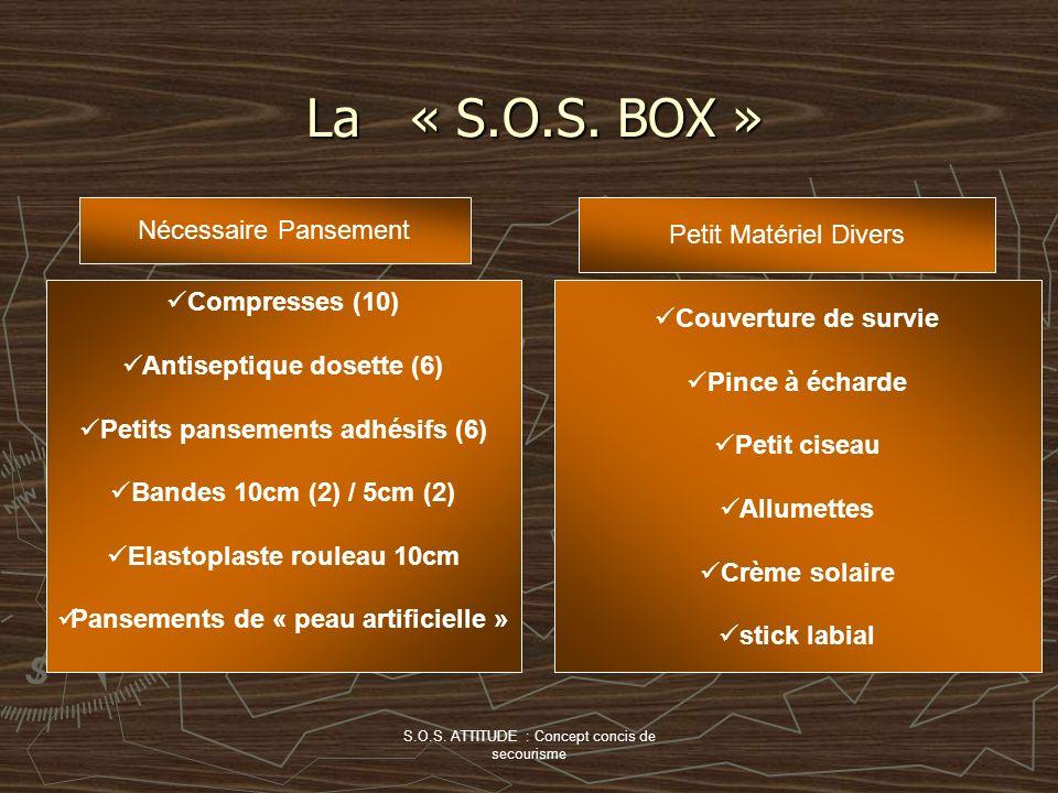 S.O.S. ATTITUDE : Concept concis de secourisme La « S.O.S. BOX » Nécessaire Pansement Compresses (10) Antiseptique dosette (6) Petits pansements adhés