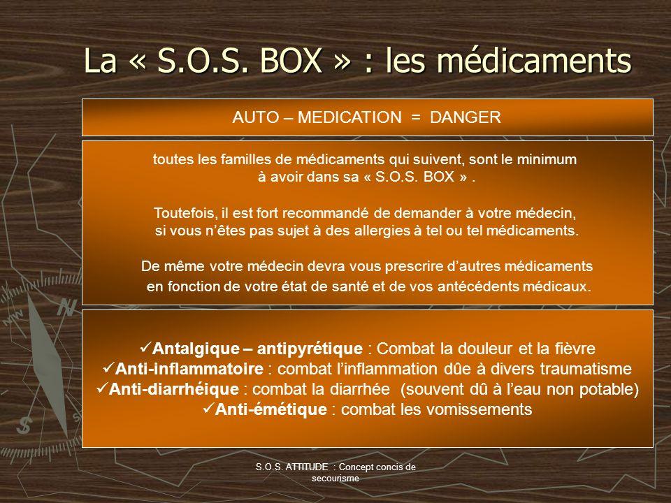 S.O.S. ATTITUDE : Concept concis de secourisme La « S.O.S. BOX » : les médicaments AUTO – MEDICATION = DANGER toutes les familles de médicaments qui s