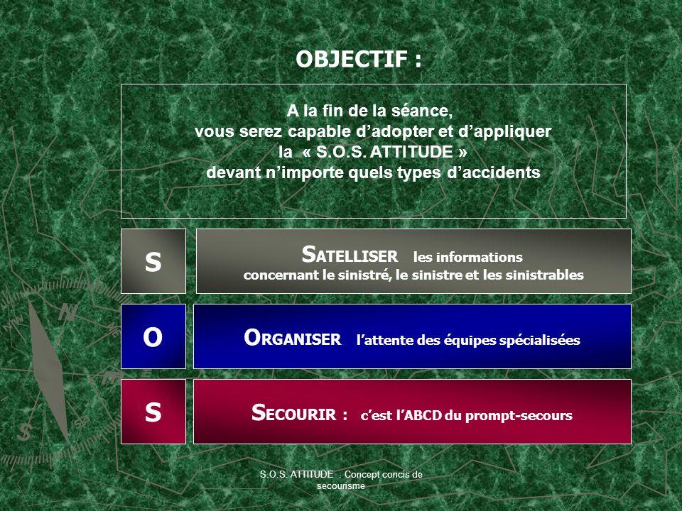 S.O.S. ATTITUDE : Concept concis de secourisme S O S S ATELLISER les informations concernant le sinistré, le sinistre et les sinistrables O RGANISER l
