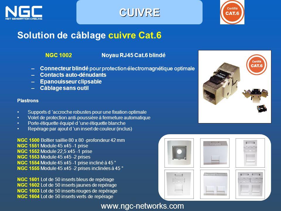 Solution de câblage cuivre Cat.6 NGC 1002 Noyau RJ45 Cat.6 blindé –Connecteur blindé pour protection électromagnétique optimale –Contacts auto-dénudan