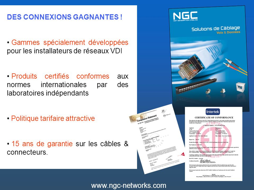 www.ngc-networks.com Solution de câblage cuivre Cat.6 Cordons Cat.