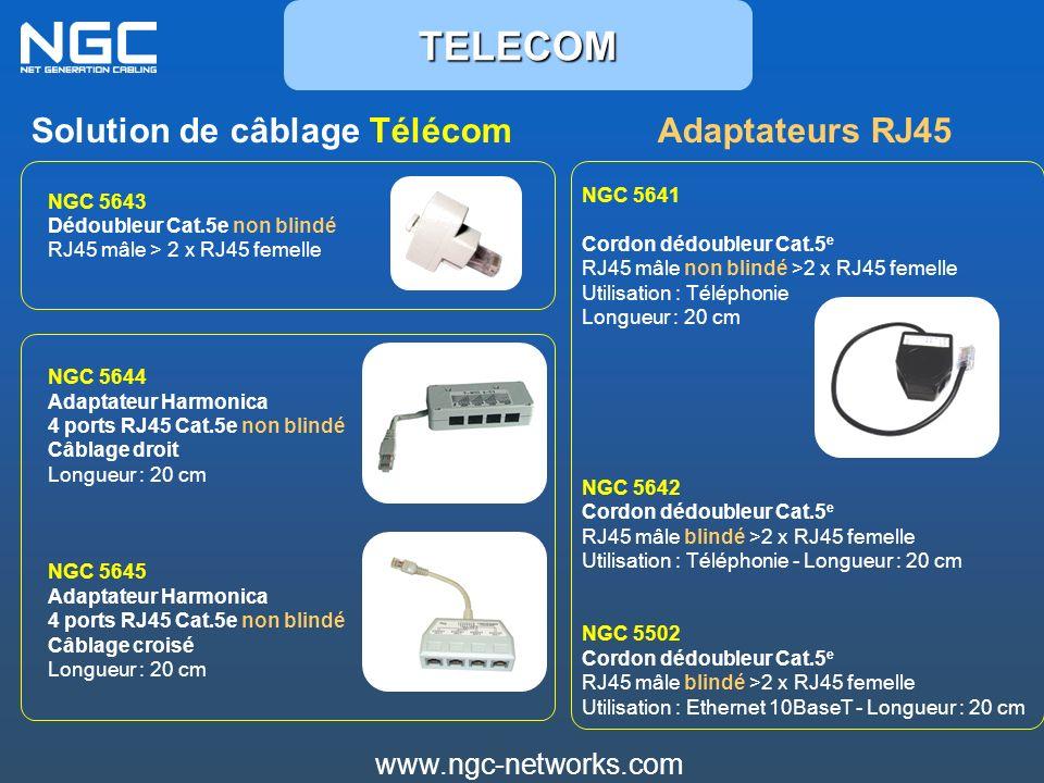 www.ngc-networks.com Solution de câblage TélécomAdaptateurs RJ45TELECOM NGC 5644 Adaptateur Harmonica 4 ports RJ45 Cat.5e non blindé Câblage droit Lon