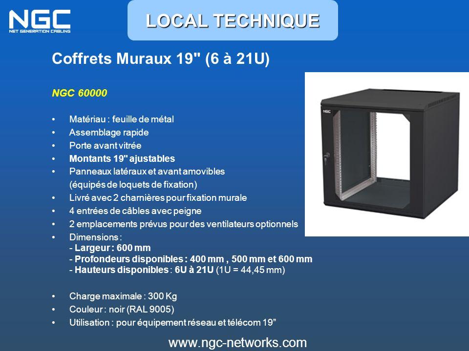Coffrets Muraux 19 (6 à 21U) NGC 60000 Matériau : feuille de métal Assemblage rapide Porte avant vitrée Montants 19 ajustables Panneaux latéraux et avant amovibles (équipés de loquets de fixation) Livré avec 2 charnières pour fixation murale 4 entrées de câbles avec peigne 2 emplacements prévus pour des ventilateurs optionnels Dimensions : - Largeur : 600 mm - Profondeurs disponibles : 400 mm, 500 mm et 600 mm - Hauteurs disponibles : 6U à 21U (1U = 44,45 mm) Charge maximale : 300 Kg Couleur : noir (RAL 9005) Utilisation : pour équipement réseau et télécom 19 LOCAL TECHNIQUE