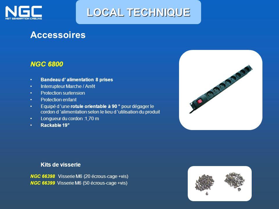 Accessoires NGC 6800 Bandeau d alimentation 8 prises Interrupteur Marche / Arrêt Protection surtension Protection enfant Equipé d une rotule orientabl