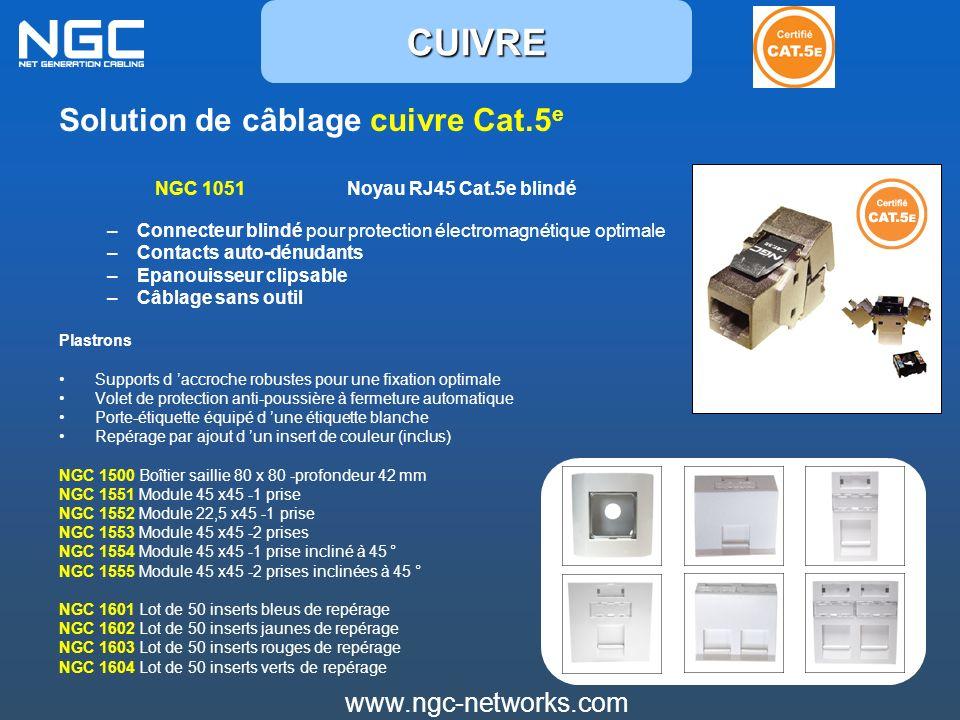 Solution de câblage cuivre Cat.5 e NGC 1051 Noyau RJ45 Cat.5e blindé –Connecteur blindé pour protection électromagnétique optimale –Contacts auto-dénu