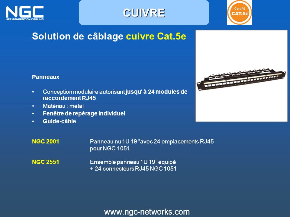 www.ngc-networks.com Solution de câblage cuivre Cat.6a Câble Cat.