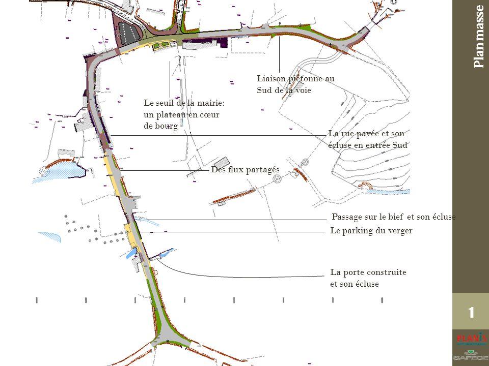 Plan masse 1 La porte construite et son écluse Le parking du verger Passage sur le bief et son écluse La rue pavée et son écluse en entrée Sud Le seuil de la mairie: un plateau en cœur de bourg Des flux partagés Liaison piétonne au Sud de la voie