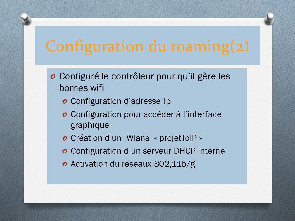 Configuration du roaming(2) o Configuré le contrôleur pour quil gère les bornes wifi o Configuration dadresse ip o Configuration pour accéder à linter
