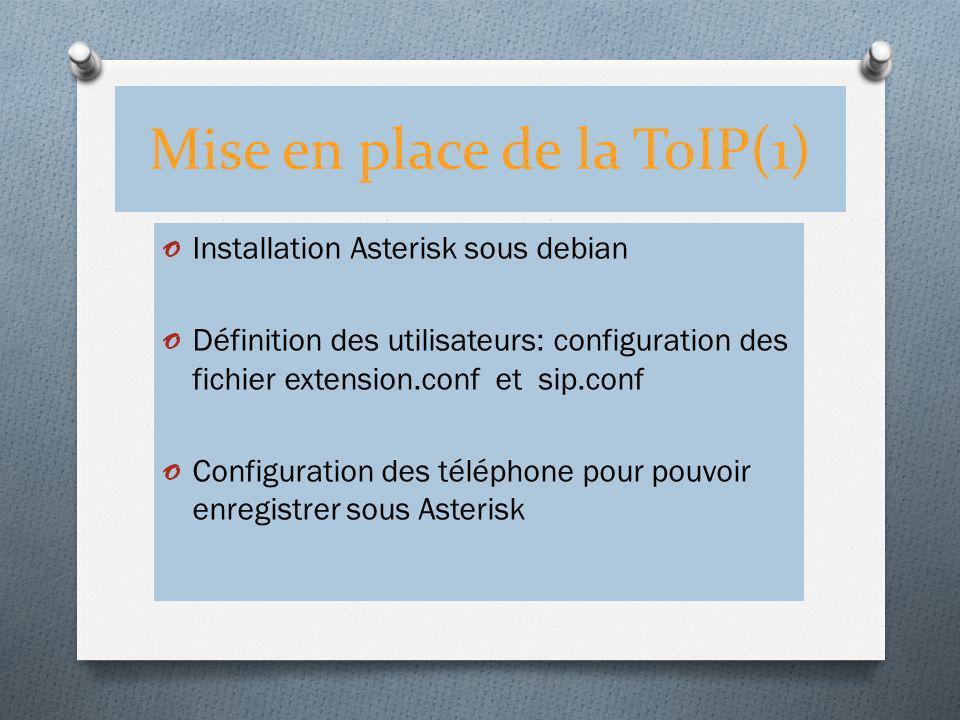 Mise en place de la ToIP(1) o Installation Asterisk sous debian o Définition des utilisateurs: configuration des fichier extension.conf et sip.conf o