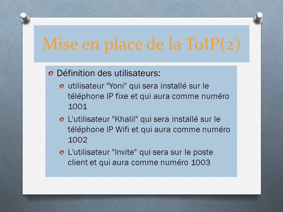 Mise en place de la ToIP(2) o Définition des utilisateurs: o utilisateur
