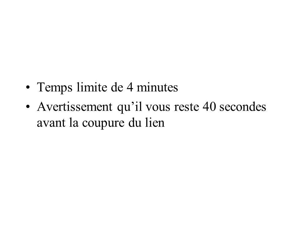 Temps limite de 4 minutes Avertissement quil vous reste 40 secondes avant la coupure du lien