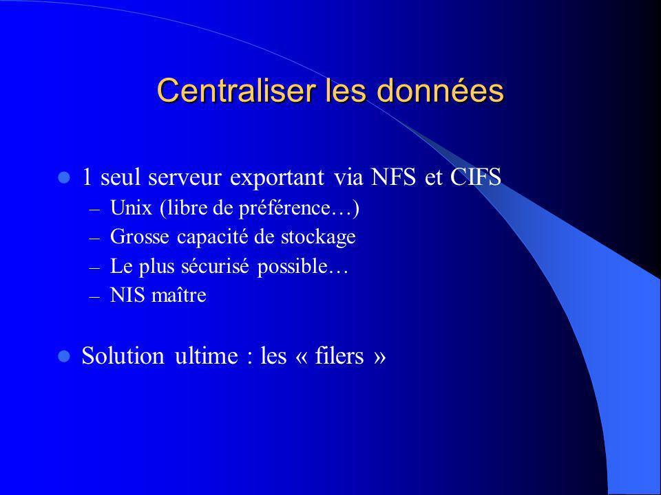 Centraliser les services réseaux Diminuer (raisonnablement) le nombre de serveurs à gérer – Zone visible 1 DNS + SMTP + POP(S) + IMAP(S) 1 WWW 1 SAS – Zone interne 1 NIS + NFS + SMB + DHCP (+ TFTP)