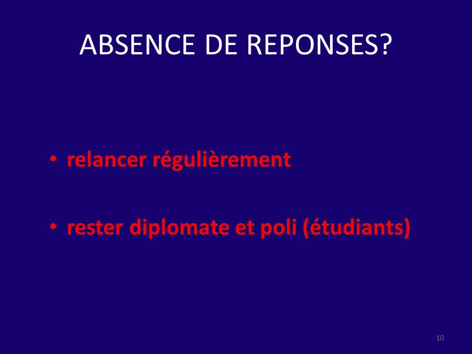 ABSENCE DE REPONSES? relancer régulièrement rester diplomate et poli (étudiants) 10
