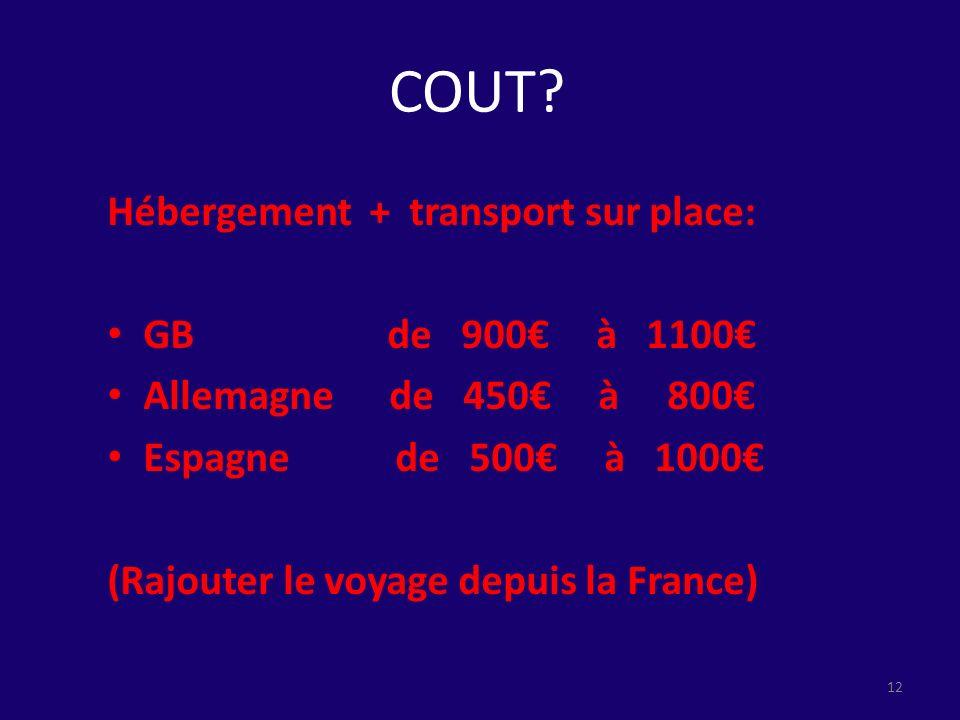 COUT? Hébergement + transport sur place: GB de 900 à 1100 Allemagne de 450 à 800 Espagne de 500 à 1000 (Rajouter le voyage depuis la France) 12