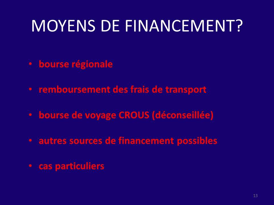 MOYENS DE FINANCEMENT? bourse régionale remboursement des frais de transport bourse de voyage CROUS (déconseillée) autres sources de financement possi