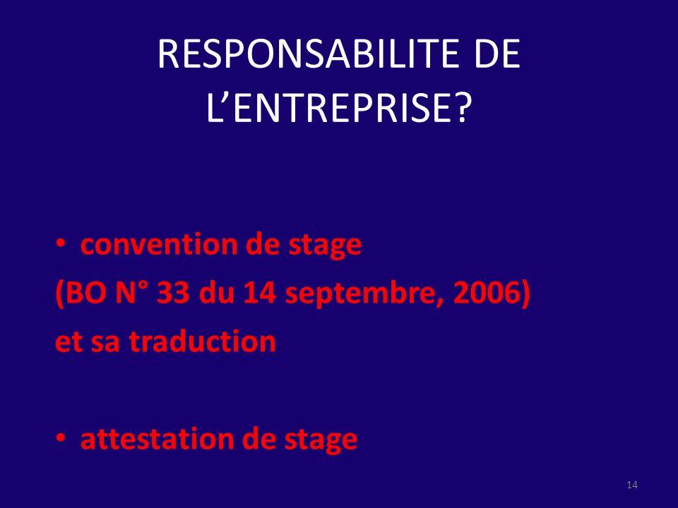 RESPONSABILITE DE LENTREPRISE? convention de stage (BO N° 33 du 14 septembre, 2006) et sa traduction attestation de stage 14