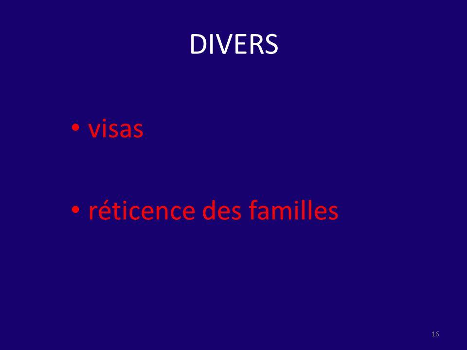 DIVERS visas réticence des familles 16