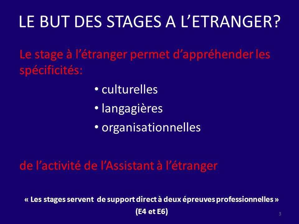 LE BUT DES STAGES A LETRANGER? Le stage à létranger permet dappréhender les spécificités: culturelles langagières organisationnelles de lactivité de l